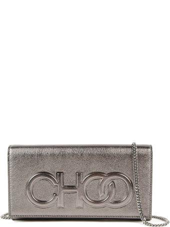 Jimmy Choo Metallic Nappa Choo Logo Clutch