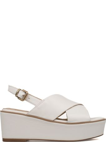 Fabio Rusconi White Leather Wedge Sandal