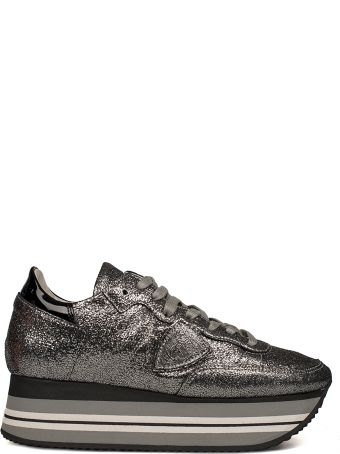 Philippe Model Charcoal Eiffel Leather Wedge Sneakers