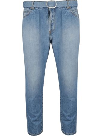 Off-White Belted Straight Cut Jeans