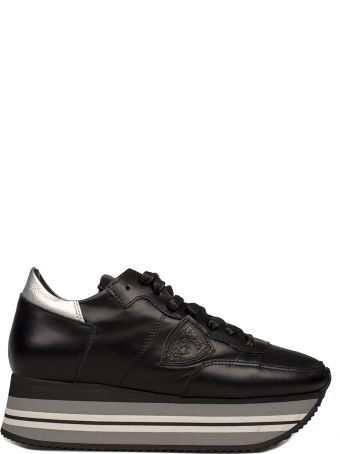 Philippe Model Black Eiffel Leather Wedge Sneakers