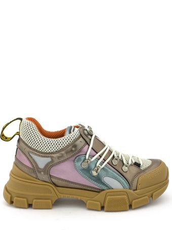 Gucci Flashtrek Sneaker In Gold, Blue And Pink Metallic Leather.
