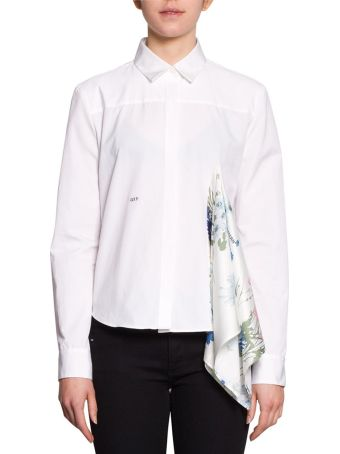 Off-White Scarf Detail Cotton Shirt
