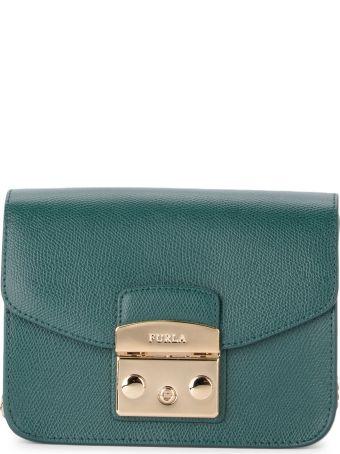 Furla Metropolis Mini Cypress Green Calf Leather Shoulder Bag