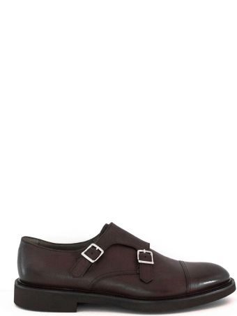 Doucal's Brown Leather Monk Strap Shoes.