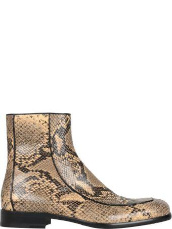 Dries Van Noten Snake-effect Leather Boots