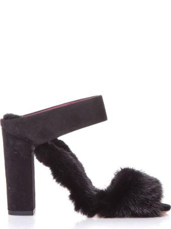 Aquazzura Black Purr Purr Sandals In Suede