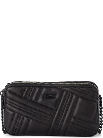 DKNY Allien Black Quilted Leather Pochette