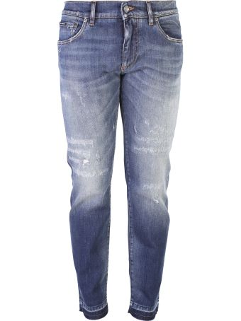 Dolce & Gabbana Blue Branded Jeans