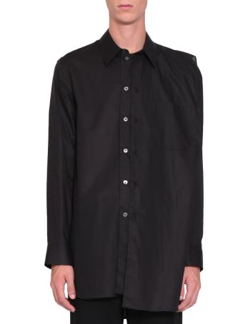 Ann Demeulemeester Black Cotton Asymmetrical Panel Shirt