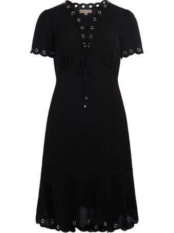 Michael Kors Black Fabric Scalloped Dress With Lace