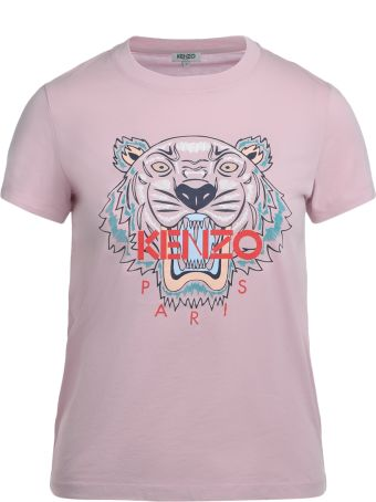 Kenzo Tiger Pink Cotton T-shirt With Multicolor Print