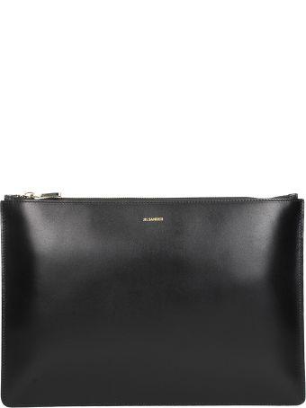 Jil Sander Envelope Lg Black Leather