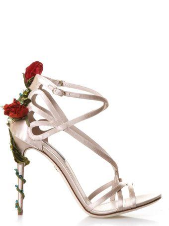 Dolce & Gabbana Keira Roses On Silk Satin Sandals