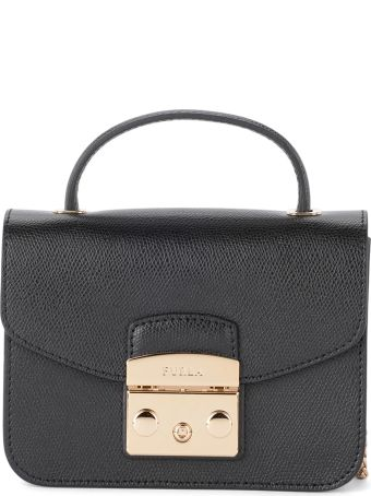 Furla Metropolis Mini Black Leather Shoulder Bag