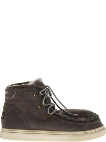 Mou Grey Leather Laced Up Boots