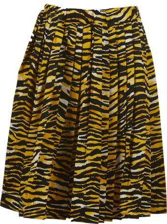 Prada Tiger Print Pleated Skirt