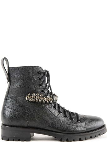 Jimmy Choo Grainy Leather W/crystal Combat Boot