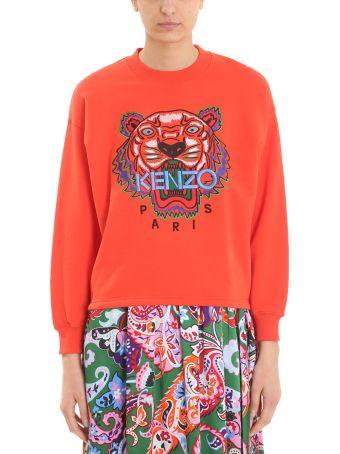 Kenzo Tiger Red Orange Cotton Sweatshirt