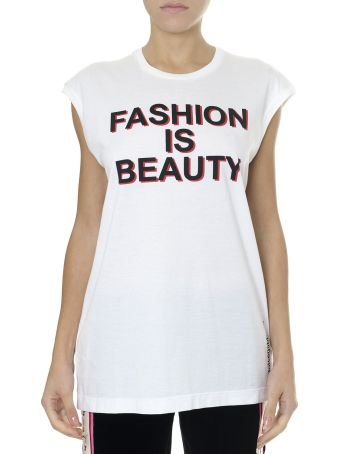Dolce & Gabbana Fashion Is Beauty White Cotton   T-shirt