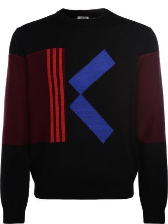 Kenzo Black Wool Jumper With Contrasting K