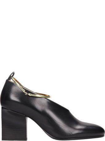Jil Sander Black Leather And Nappa Removable Metal Anklet Pumps