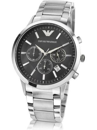Emporio Armani Men's Black Dial Stainless Steel Chrono Watch