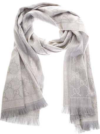 Gucci Light Gray Wool Scarf With Gg Motif