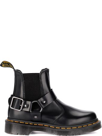 Dr. Martens Wincox Black Leather Ankle Boots With Buckle