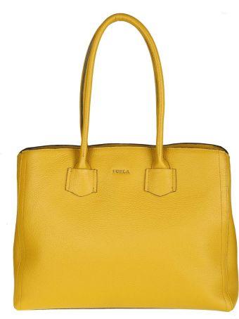 """Furla Shopping """"alba L"""" In Leather Color Yellow Senape"""