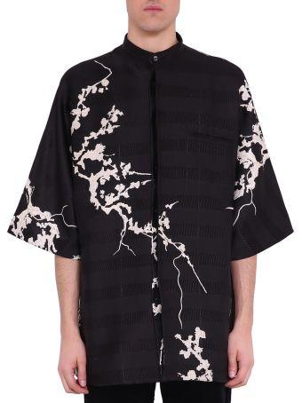 Haider Ackermann Leonitis Black Silk Blend Floral Kimono Shirt