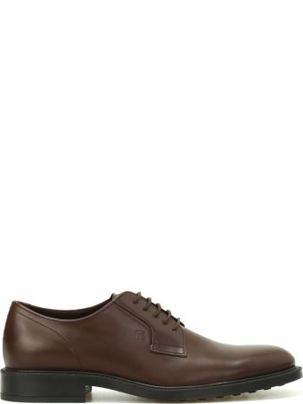 Tod's Dark Brown Leather Derby Shoes