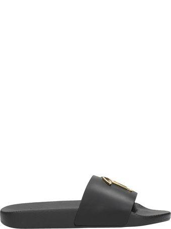 Giuseppe Zanotti Slide Flats In Black Rubber
