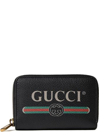 Gucci Logo Print Zip Around Wallet