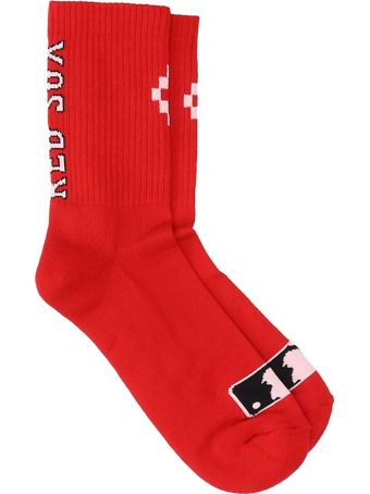 Marcelo Burlon Red Cotton Sock