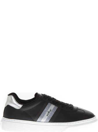Hogan H365 Black Leather Sneakers With Glitter Insert