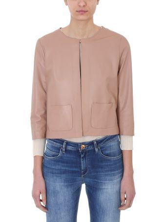 L'Autre Chose Cropped Pink Leather Jacket