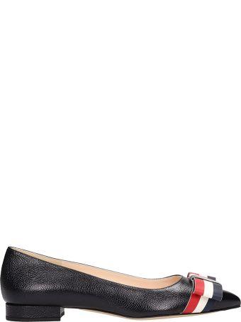 Thom Browne Black Leather Bow Ballerinas