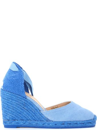 Castañer Carina Natural Jute And Light Blue Canvas Wedge Sandal