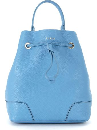 Furla Stacy S Tumbled Light-blue Leather Bucket Bag