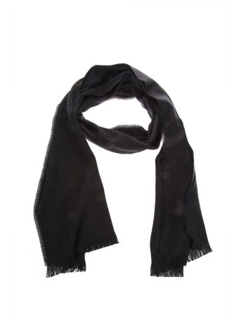 Gucci Black Wool Scarf With Gg Motif