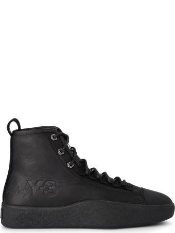 Y-3 Model Bashyo Ii Black Leather High Top Sneaker