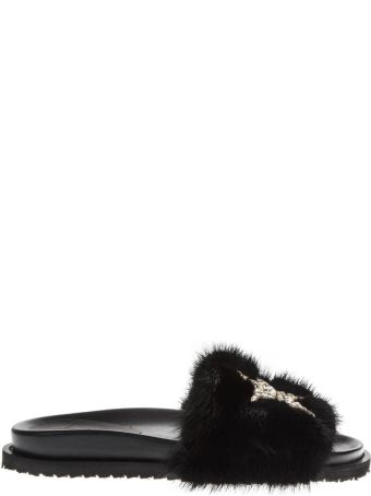 Emanuela Caruso Black Leather Slippers With Faux Fur