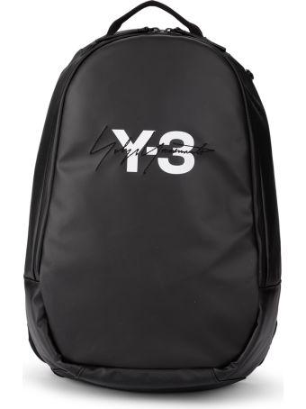 Y-3 Black Wax Canvas Backpack