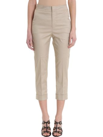 L'Autre Chose Cropped Beige Cotton Trousers