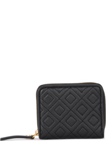 Tory Burch Fleming Medium Black Quilted Leather Wallet