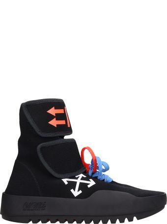 Off-White Black Fabric Moto Wrap Sneakers