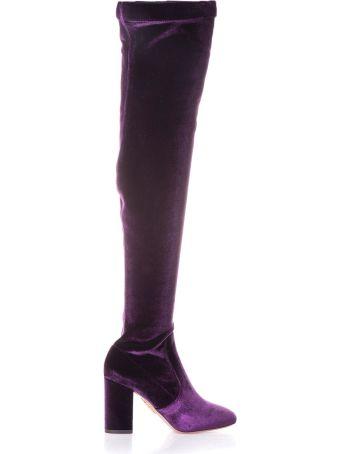 Aquazzura Purple So Me 85 Boots In Velvet Over The Knees