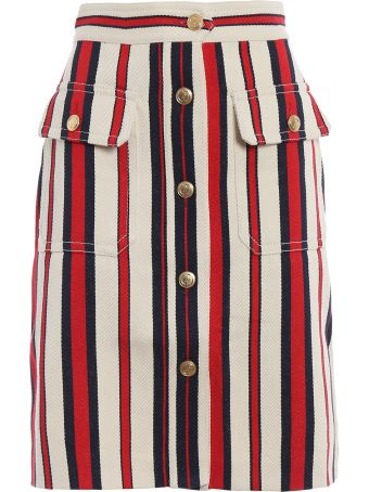 Gucci Rinsed Ctn Stripe Skirt