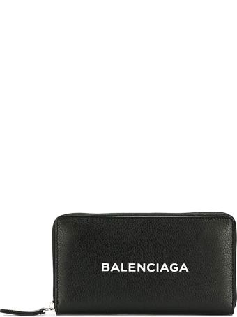 Balenciaga Everyday Logoed Black Leather Wallet